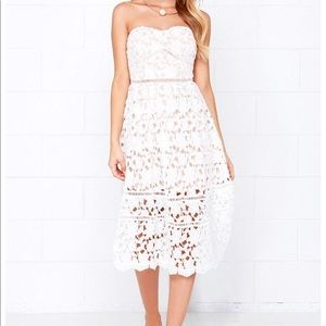 Lulu's White Strapless Crochet Floral Dress